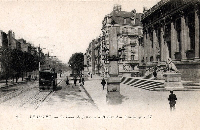palais de justice du havre et boulevard de strabsourg carte postale ancienne nb le havre. Black Bedroom Furniture Sets. Home Design Ideas