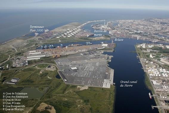 vue arérienne du port de commerce du havre